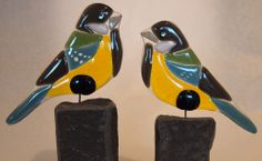 "Fused glas art ""Birds on a Perch"""