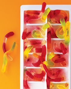 Breed gummy worms in ice and infest a cold Halloween drink. Put the worms in an ice-cube tray, letting them stick out of the top and sprawl over the edges, and fill tray with water; freeze. Add cubes to a clear beverage, and watch as kids squirm with delight.
