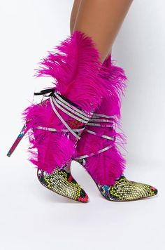 AZALEA WANG KILLER ON THE MOVE STILETTO BOOTIE IN MULTI in color multi Colorful Snakes, Large Feathers, Snake Print, Baddies, Your Style, Booty, Swag