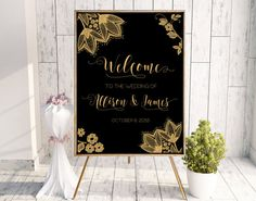 Welcome sign printable gold lace. Digital by PrintableEventsCo