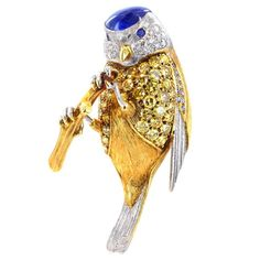 Burma Sapphire Diamond Bird Pin; I have a costume piece simular to this gem which I pin onto the top of a towel in my powder room for fun.
