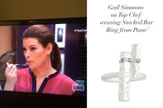 Gail Simmons from Top Chef wearing Pame Stacked Bar Ring/  Get yours here http://www.pamedesign.com/stacked-silver-bar-ring-2