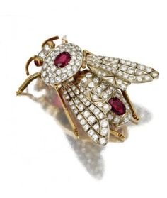 Antique Estate Diamond Jewelry Diamond and Ruby Bee Brooch           $19,000