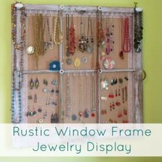 Old window frame jewelry holder/display. Use one of the panels for rings, add small rods so you can put your rings around the rod. Need to find an old window!