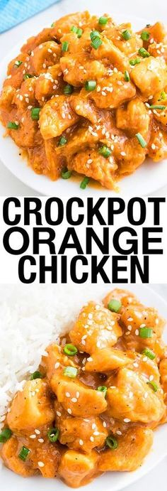 This easy SLOW COOKER ORANGE CHICKEN recipe with sweet and sour flavors is best  served with rice or noodles. This crockpot orange chicken requires simple ingredients. Tastes better than Chinese take out and makes an easy weeknight dinner. From cakewhiz.com