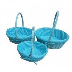 Set 3 #Cestas Mimbre Azul para llevar los regalos.   Tienda de #Regalos economicos en España para #Bautizos. Siguenos en https://www.facebook.com/bodasbautizoscomunionesregalos