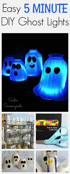 Need a simple and fast DIY Halloween project idea? Sadie Seasongoods has you covered with this crazy easy project! Repurpose some glass light shades / covers from Habitat ReStore into amazing little Ghost lights...add glow sticks to illuminate and voila- you're done and ready for Halloween!! Good year after year, these five minute DIY ghost lights are perfectly eerie and cute. Great upcycle craft idea from Sadie Seasongoods / www.sadieseasongoods.com