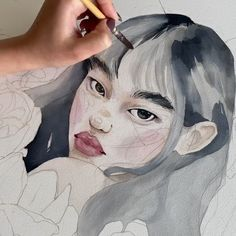 Watercolour portrait by Polina Bright – Art Sketches Art Painting, Art Drawings, Drawings, Watercolor Paintings Tutorials, Illustration Art, Art, Painting Art Projects, Watercolor Art Face, Portrait Art