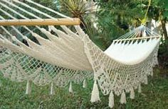 Lazy, sunny days beg for a hammock in the garden. With weaving that recalls the lace curtains found in many a Victorian parlor, Victorian Trading Co.'s hammock won't look out of place next to your Italianate or Queen Anne. Victorian Gardens, Victorian Interiors, Victorian Furniture, Victorian Architecture, Crochet Hammock, Victorian Parlor, Victorian Life, Outdoor Projects, Outdoor Decor
