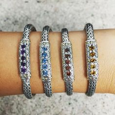 Decisions decisions #sterlingsilver #sterlingsilverjewelry #wovenbracelet #bracelet #gemstone #gemstonejewelry #gemstonebracelet #amethyst #bluetopaz #garnet #citrine #instagood #instafashion #fashion #jewelry #luxury #style #trend #armparty #cirquejewels by cirquejewels
