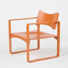 Verner Panton, 270 F Chair for Thonet, 1966.      A rare and early chair in Panton's career. Thonet label.  Wood