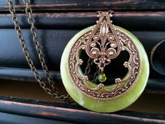 Green Natural Stone Necklace Long Necklace by KarenTylerDesigns