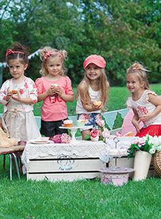 Tea Party for Girls ♥ Setting up boxes with pretty table clothes work perfect for little ones.