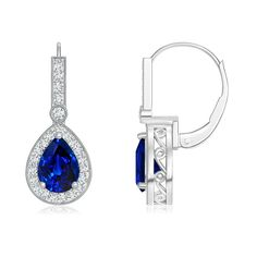 Love this Jewelry Style from Angara! Vintage Inspired Pear Blue Sapphire and Diamond Drop Earrings