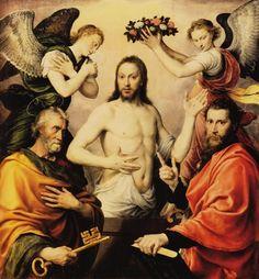 Jésus-Christ ressuscité entouré de saint Pierre, saint Paul et deux anges, huile sur toile, Anthonis Mor (1564)