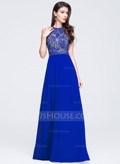 A-Line/Princess Scoop Neck Floor-Length Chiffon Prom Dress With Beading Sequins (018070379)