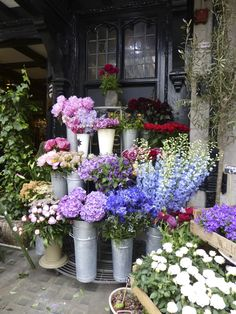 Flower stand outside of Liberty's, London