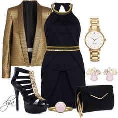 """""""Navy, Pink & Gold"""" by dgia on Polyvore"""