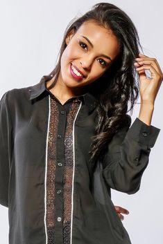 Dámska čierna košeľa s krajkou Shirt Blouses, Button Up Shirts, Bomber Jacket, Jackets, Fashion, Down Jackets, Moda, Fashion Styles, Fashion Illustrations