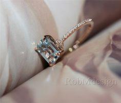 6*8mm VS Emerald Cut Aquamarine Ring Diamond Pave Setting Claw Prong 14k Rose…
