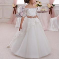 Cheap girls dress, Buy Quality princess dress directly from China lace flower girl dresses Suppliers: 2017 New Hot White Ivory Lace Flower Girls Dresses With Belt Floor Length Girls First Communion Dress Princess Dress Ball Gown Tulle Flower Girl, Wedding Flower Girl Dresses, Wedding Party Dresses, Party Gowns, Tutu Party, Baby Flower, Prom Party, Flower Dresses, Party Wedding