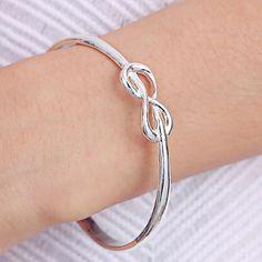 Silver Infinity Bangle Bracelet