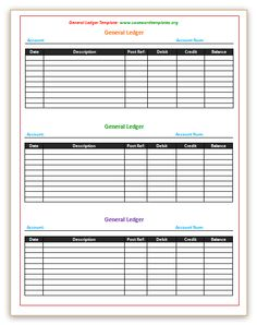 Free Printable Bookkeeping Sheets  General Ledger Free Office