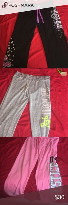 4 PAIRS BUNDLE Super cute Justice sweatpants !!! The first pair has some wear but still great condition,middle pair never even been worn and the third pair has some wear on the bottom but still lots of life left in them !!! The fourth pair has never been worn at all Justice Pants