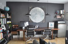 Paint colors that match this Apartment Therapy photo: SW 2836 Quartersawn Oak, SW 0010 Wickerwork, SW 6991 Black Magic, SW 7674 Peppercorn, SW 7073 Network Gray