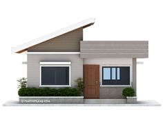 This Two Bedroom Small House Design has a total floor area of 61 square meters that can be built in a 134 square meters lot area. if you have a lot width of 10 meters and meters depth, this de… Two Bedroom House Design, House Roof Design, Simple House Design, Modern House Design, Modern Bungalow House Plans, Bungalow House Design, New House Plans, Small House Plans, Narrow House Designs