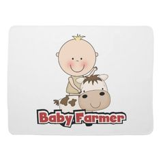 Baby Boy Farmer With Cow Swaddle Blanket