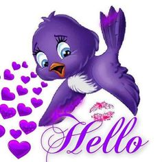 Hello from an adorable purple bird! Good Morning Good Night, Good Morning Quotes, Thinking Of You Today, Hello Goodbye, Purple Bird, Hello Welcome, Photo Background Images, All Things Purple, Very Lovely