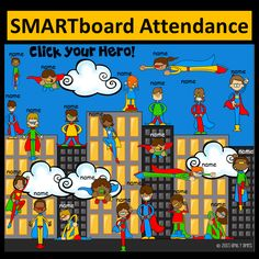 Super Hero SMART board Attendance