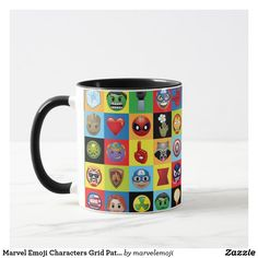 Shop Pop Avengers Character Block Pattern Mug created by marvelclassics. Emoji Characters, Avengers Characters, Marvel Mug, Hulk Spiderman, Emoji Design, Create Your Own Mug, Cute Coffee Mugs, Green Goblin, Comic Styles