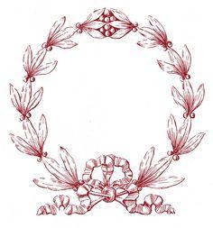*The Graphics Fairy LLC*: Vintage Christmas Clip Art - Laurel Wreath Frame