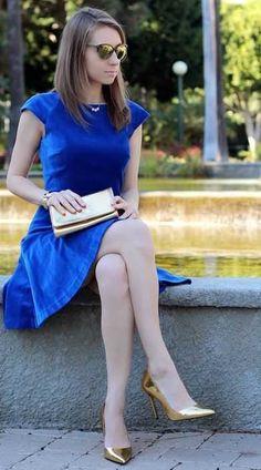 19c7ed5032b combinar zapatos dorados Zapatos Azules Combinar