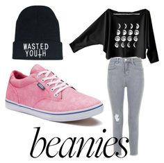 Designer Clothes, Shoes & Bags for Women Moon Shirt, Pink Moon, Ripped Jeans, New Look, Beanie, Vans, Shoe Bag, Polyvore, Stuff To Buy