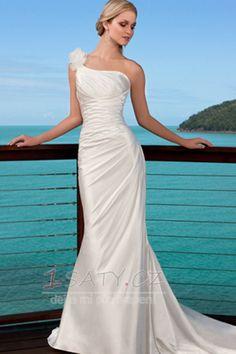 Délka+patra+Jednoduché+Satén+Bez+pasu+Jeden+květ+popruh+Svatební+šaty