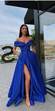 chic off shoulder royal blue split prom evening dresses, fashion party gowns, Royal Blue Prom Dresses, Pretty Prom Dresses, Unique Prom Dresses, Wedding Dresses, Blue Dresses, Bridesmaid Gowns, Special Dresses, Cheap Formal Dresses Long, Cheap Dresses
