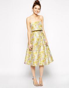 ASOS | ASOS Jacquard Prom Bandeau Midi Dress With Crop Top at ASOS