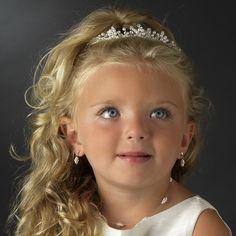 Silver Rhinestone & White Pearl Flowergirl Headpiece HPC 9322