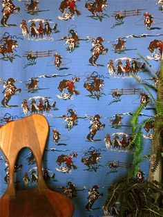 Blue Rodeo Barkcloth, New Reproduction of Vintage Western Pattern. Etsy.