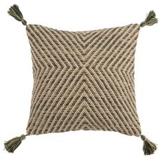 Nelson Woven Cushion: Green and beige texture square cushion with corner tassels and plain colour backing, £29 from Maisons du Monde affiliate partner Beige, Circular Rugs, Rattan Pendant Light, Modern Cushions, Curve Design, Plant Fibres, Round Rugs, Rustic Style, Rug Making