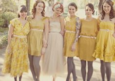 """fuckyeahweddingideas:    """"The gals all picked out their own dresses (some vintage some not) in a  shade of mustard yellow, and pulled their looks together by wearing gray  tights and pink velvet ribbon belts."""""""