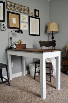 Lovely farmhouse style desk transformation from Little Glass Jar @areimers21 Follow along on her journey littleglassjar.com #farmhousestyle #officemakeover
