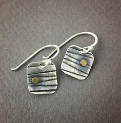 Silver Earrings, Small Earrings, Hand Stamped Earrings, Bronze Earrings, Handmade Earrings, Dangle Earrings, Mixed Metal Earrings These mixed metal earrings are hand fabricated and textured by hand with a chisel I formed from car engine tools that Papaw used...just a bit of back