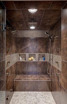 dark brown bathroom tiles
