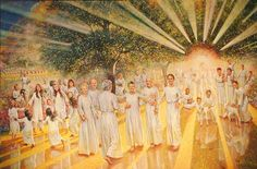 Kenneth Turner Fine Art - Eternal Reunion Commissioned by the Dr. Glen Ginter family the painting expresses the joy of being reunited with deceased loved ones. Heaven Pictures, Church Pictures, Bible Pictures, Jesus Pictures, Heaven Art, Heaven Painting, Lds Art, Bible Illustrations, Bride Of Christ