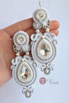 Soutache Jewelry. Artystyczna Biżuteria Autorska Katarzyna Wojtak: #0057 Princesse. Kolczyki sutasz. Ślubne.