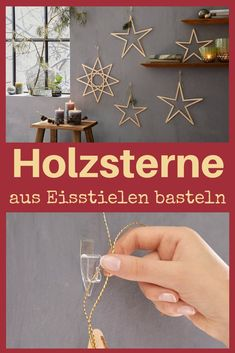 Holzsterne basteln Gluing ice cream sticks together into a wooden star does not sound difficult - an Kids Christmas Ornaments, Christmas Diy, Ornament Crafts, Christmas Crafts, Star Diy, Crafts For Teens To Make, Wooden Stars, Angel Crafts, Hannukah